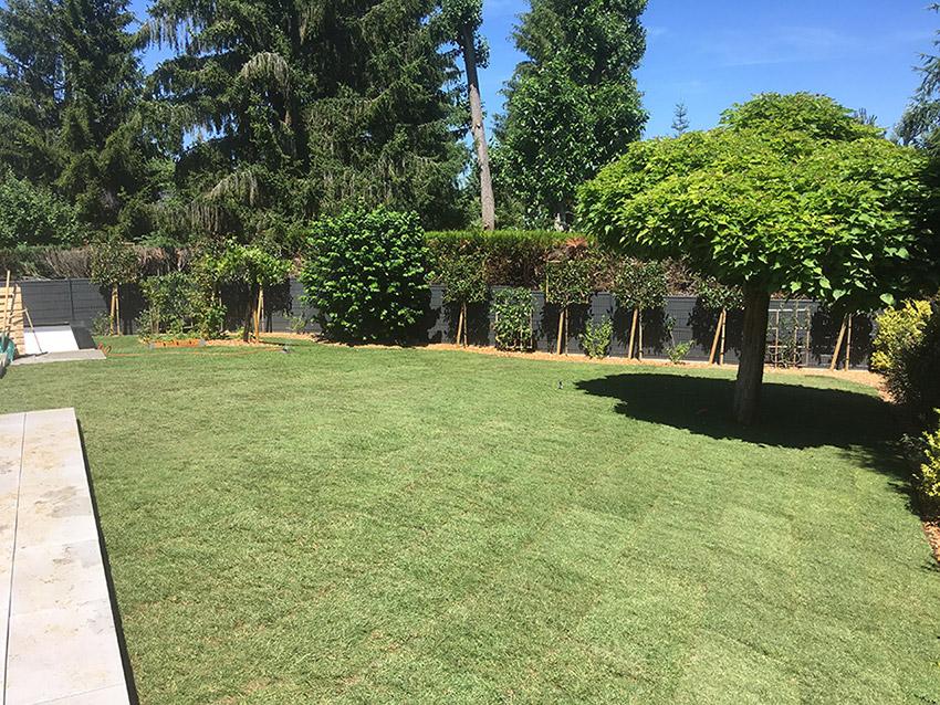 Rénovation totale d'un jardin autour d'une maison rénovée des années 80, placage pose - Paysagiste J2M3A